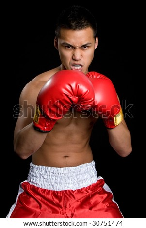 Asian Male Boxer - stock photo