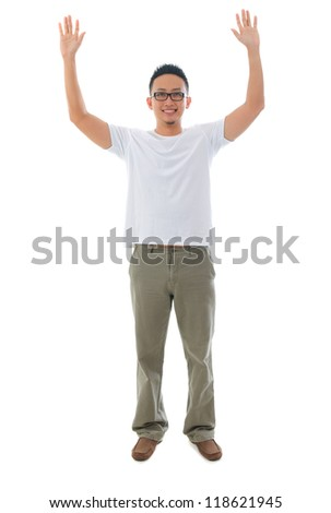 asian male casual raised arm in full body, isolated on white