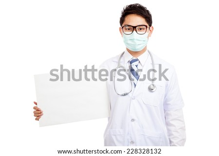 Asian male doctor wear mask with blank banner  isolated on white background - stock photo