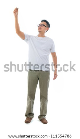 asian man drawing in full body - stock photo
