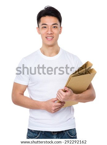 Asian man holding with folder