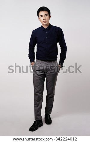 Asian man portrait in studio - stock photo