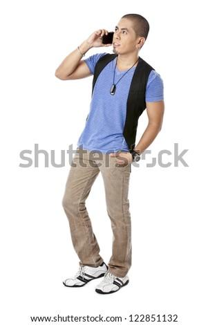 Asian man talking on his cellular phone - stock photo