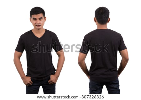 Asian man wearing blank black t-shirt isolated on white background - stock photo