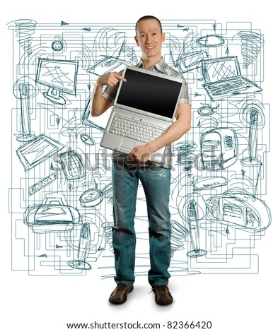 asian man with open laptop in his hands, smiles at camera - stock photo