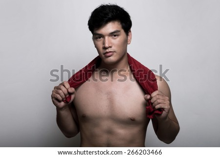 Asian man with towel in the hand