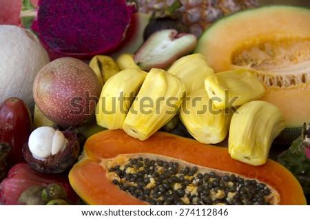Asian market, exotic fruits - stock photo