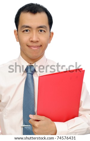 Asian mature business man of executive holding red folder of document, half length closeup portrait on white background. - stock photo
