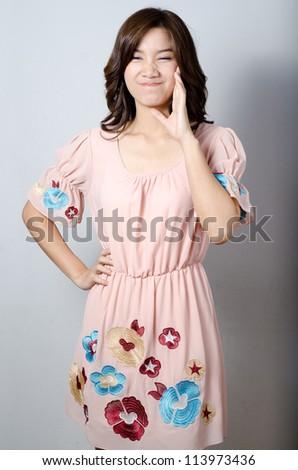 Asian model girl lovely smiling posing - stock photo
