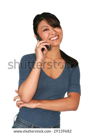 Asian model on cell phone - stock photo