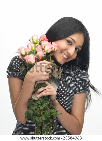 Asian modern girl with bunch of pink roses - stock photo