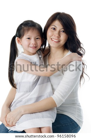 Asian mother and daughter - stock photo