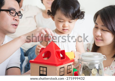 Asian multi generations family lifestyle at home. - stock photo