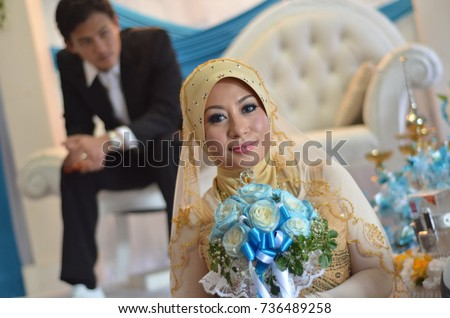 Asian muslim wedding couple malay wedding stock photo royalty free asian muslim wedding couple malay wedding ceremony selective focus junglespirit Image collections