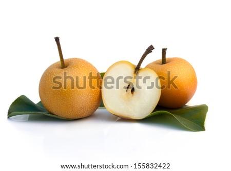 Asian nashi pears, tropic fruit - isolated on white - stock photo