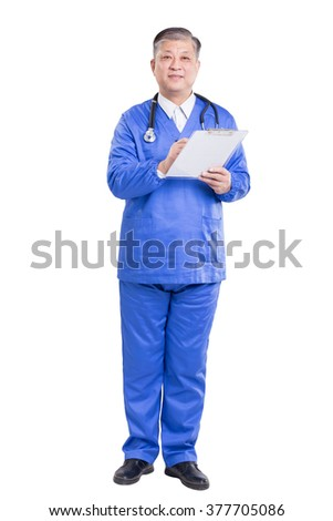 asian old man doctor in blue uniform with stethoscope and clipboard