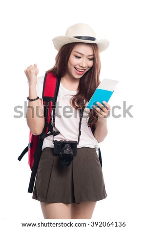 Asian oman with  travel documents and camera reading travel document isolated on white background - stock photo