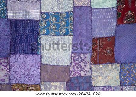 Asian patchwork carpet in Leh, Ladakh, India. Close up - stock photo