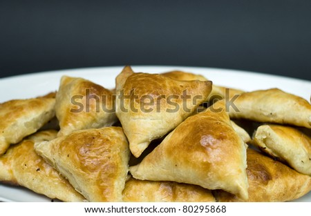 Asian pies with meat, samsa. - stock photo