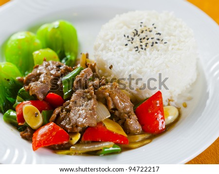 asian rice meat - stock photo