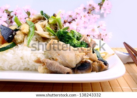 Asian rice with prawn, meat and vegetable, close up