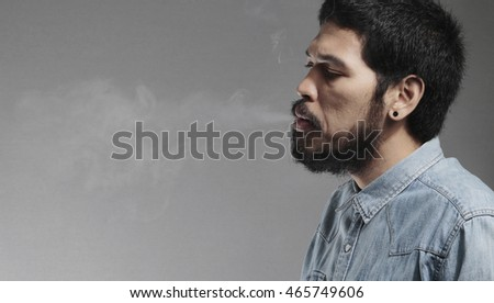 Asian Rocker handsome guy smoking feeling post realistic