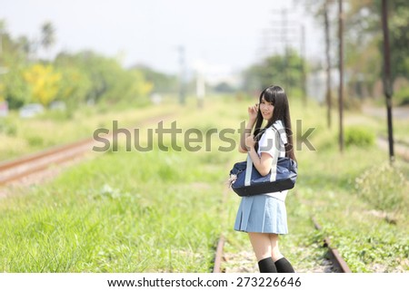 Asian school girl  - stock photo