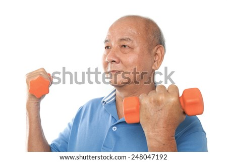 Asian senior man doing exercise with dumpbells
