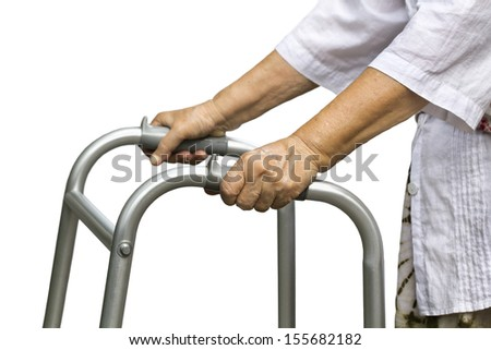Asian senior woman using a walker