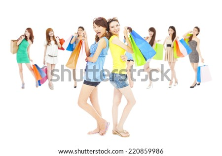 asian shopping women group holding color bags. isolated on white background - stock photo