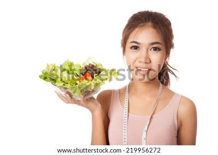 Asian slim girl with measuring tape and salad  isolated on white background