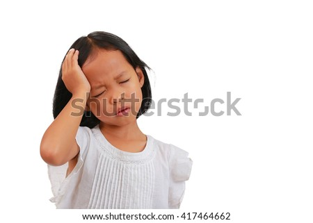asian small girl suffering from severe headache, migraine or vertigo, stressed asian girl child with headache