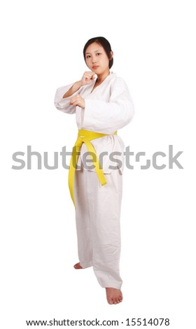 Asian sports girl, isolated on white - stock photo