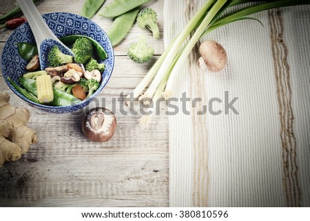 Asian stir-fried vegetables. Food background with copy space - stock photo