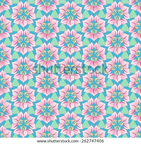 Asian style floral pattern - stock photo