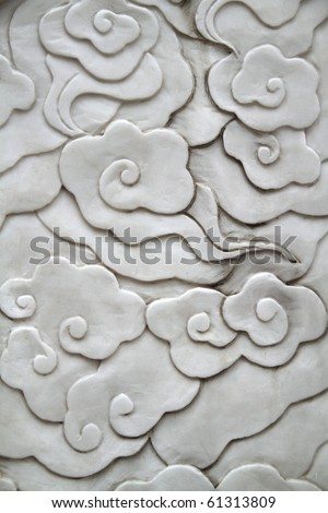 Asian style flower pattern on a wall - stock photo