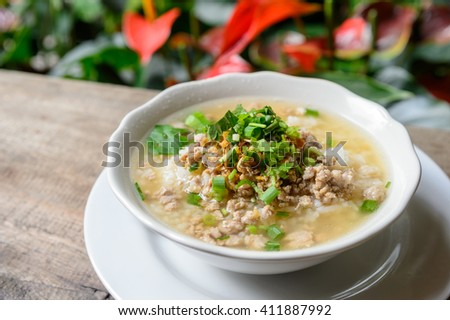 Asian style food eaten with soft boiled rice