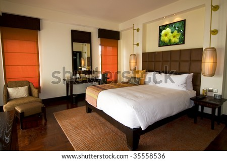 Asian style hotel room at spa resort