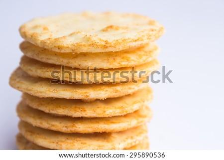 Asian style snack rice crispy cracker - stock photo