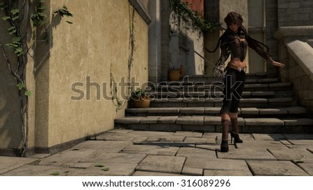 asian swordsgirl in middle age town street