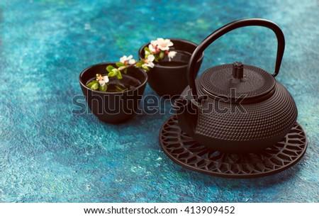 asian tea set for tea ceremony - stock photo