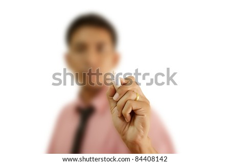 Asian teacher writing on the whiteboard. - stock photo