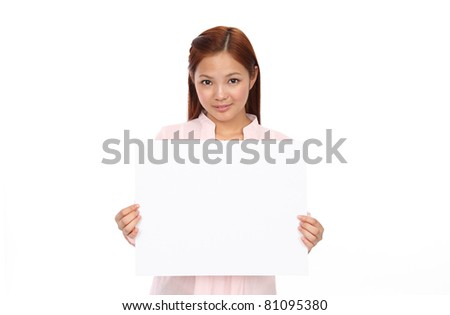 Asian teen with an empty board - stock photo