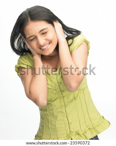 Asian teenage girl in a upset expression - stock photo