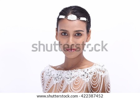 Asian Thai Female Woman Model Tan Skin in Lace See Through Shoulder with Tiara, Fashion Make Up, Studio Lighting on White Background, Healthy Smart Spa Clean Girl Concept