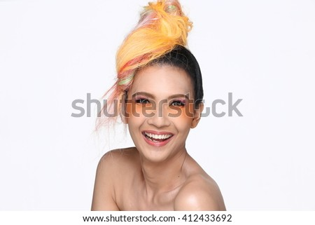 Asian Thai Trans Gender Model People with Orange Hair Fashion Make Up style in White background in Studio Lighting