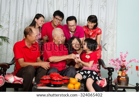 Asian three generations family celebrate chinese new year  - stock photo