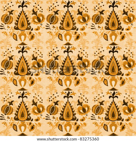 Asian vintage wallpaper seamless ornament flowers in brown - stock photo