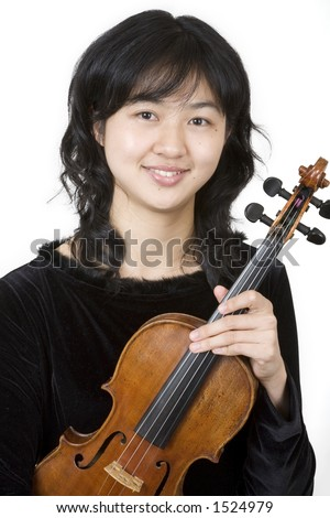 Asian violinist 1, holding her violin - stock photo