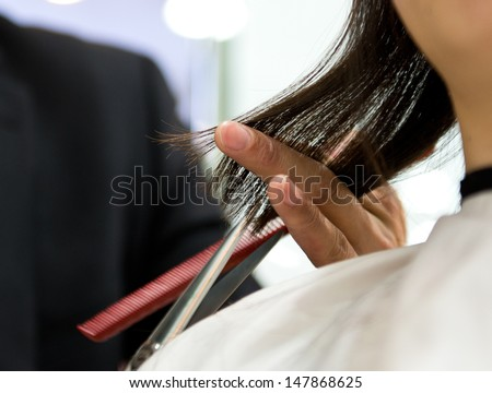 Asian woman at the hairdresser salon